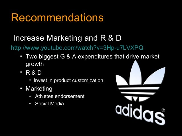 RecommendationsIncrease Marketing and R & Dhttp://www.youtube.com/watch?v=3Hp-u7LVXPQ    • Two biggest G & A expenditures ...