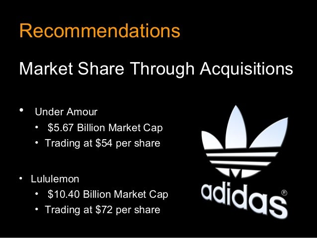RecommendationsMarket Share Through Acquisitions•   Under Amour    • $5.67 Billion Market Cap    • Trading at $54 per shar...