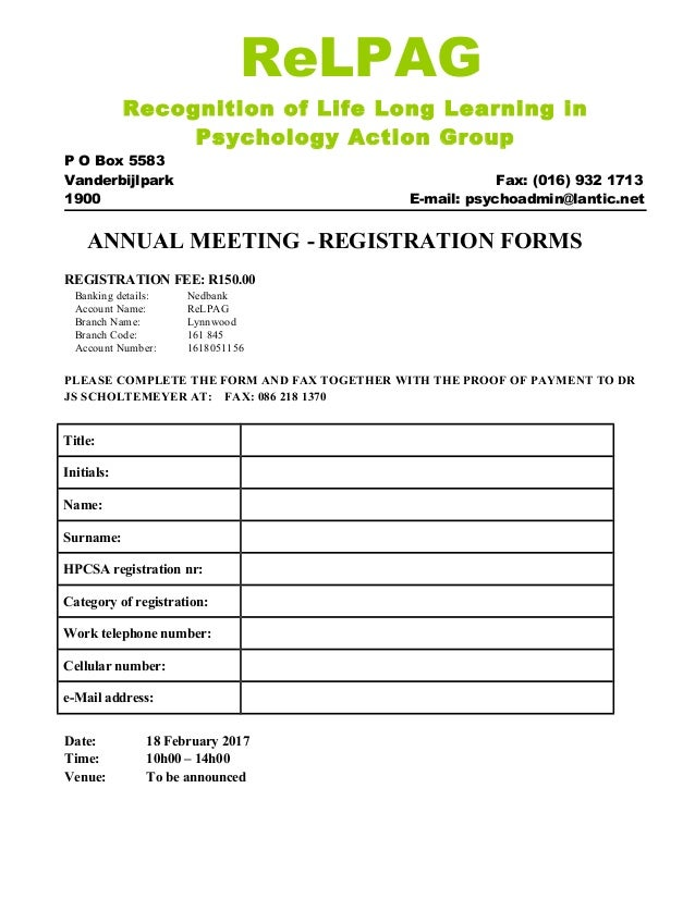 Registration form relpag annual general meeting 18 feb 2017 relpag recognition of life long learning in psychology action group p o box 5583 vanderbijlpark fax thecheapjerseys Image collections