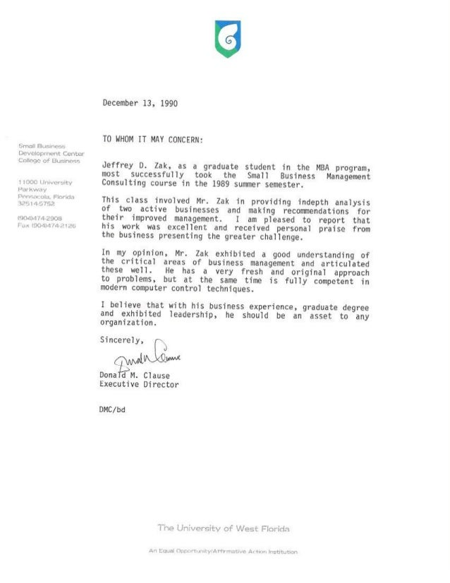 SBDC Reference Letter