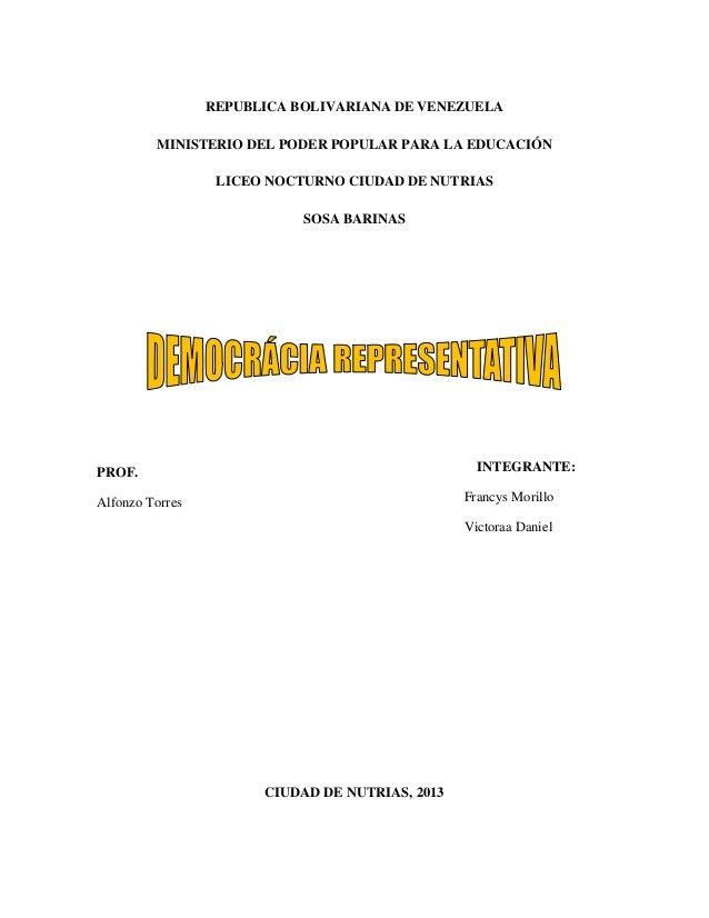REPUBLICA BOLIVARIANA DE VENEZUELA MINISTERIO DEL PODER POPULAR PARA LA EDUCACIÓN LICEO NOCTURNO CIUDAD DE NUTRIAS SOSA BA...