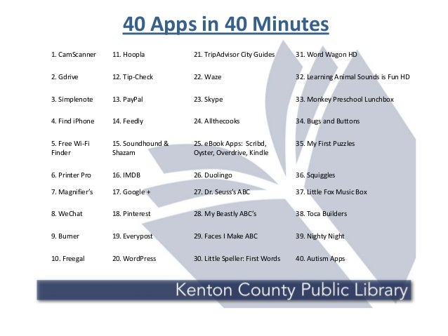 40 Apps in 40 Minutes 1. CamScanner 11. Hoopla 21. TripAdvisor City Guides 31. Word Wagon HD 2. Gdrive 12. Tip-Check 22. W...