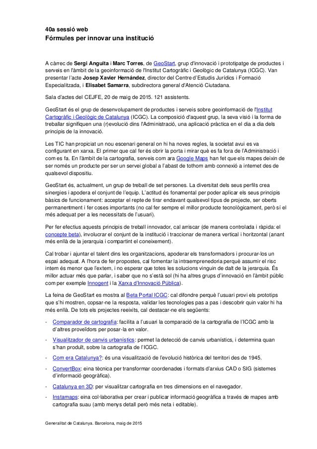 40a sessió web Fórmules per innovar una institució A càrrec de Sergi Anguita i Marc Torres, de GeoStart, grup d'innovació ...