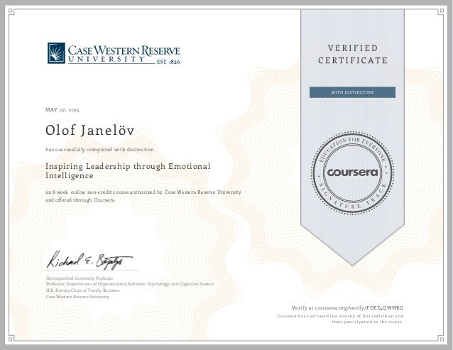 MAY 07, 2015 Olof Janelöv Inspiring Leadership through Emotional Intelligence an 8 week online non-credit course authorize...