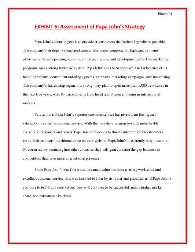 Francis Flores - Papa Johns Case Analysis