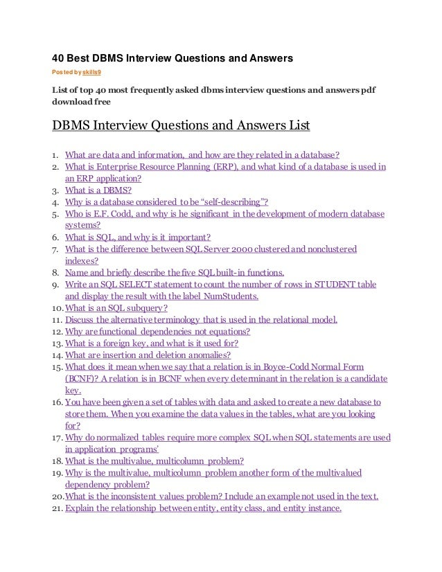 DBMS INTERVIEW QUESTIONS EPUB