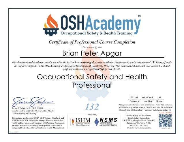 Occupational Safety Card