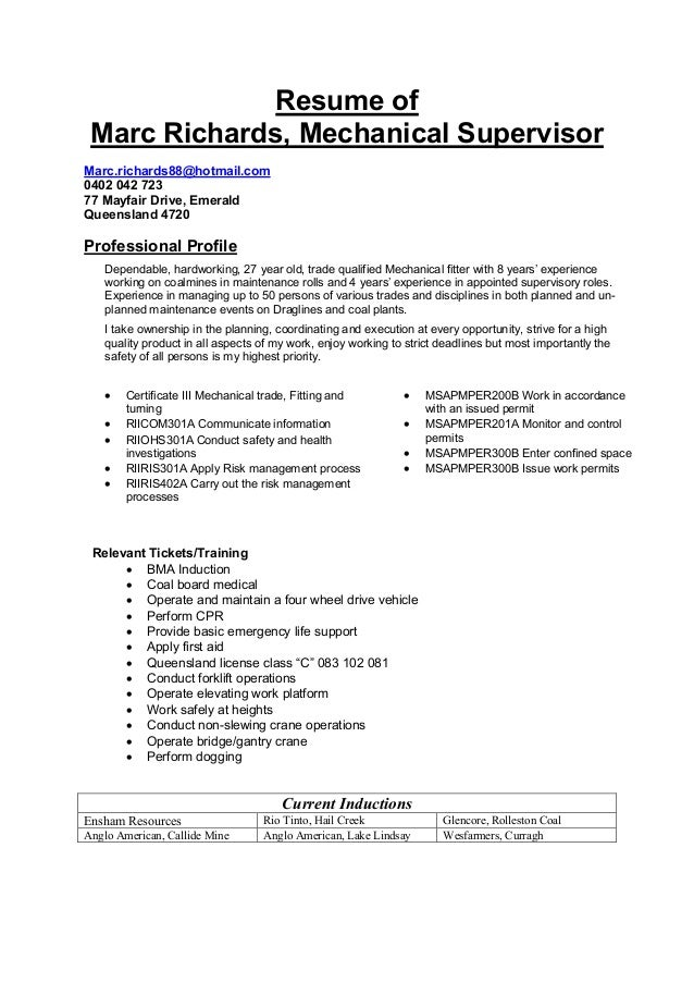 Resume Templates For Mechanical Foreman - Manual Guide Example 2018 •
