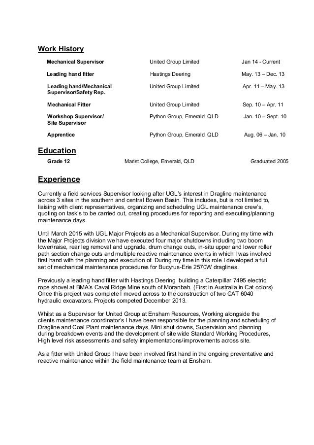 resume of marc richards mechanical supervisor