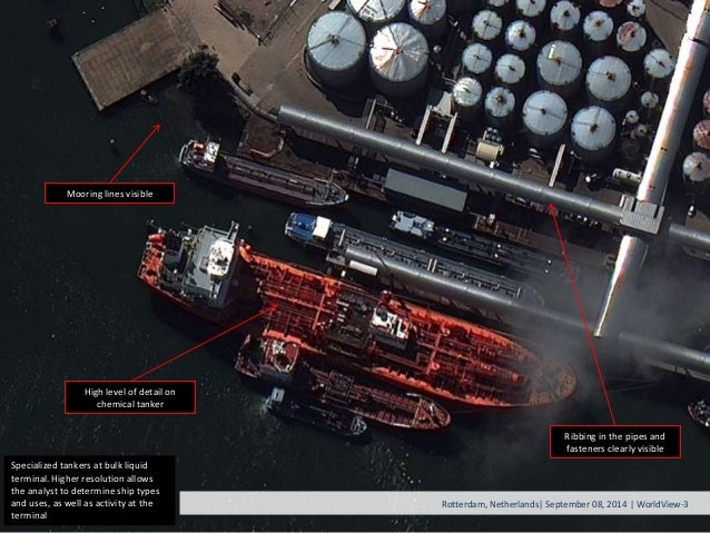Specialized tankers at bulk liquid terminal. Higher resolution allows the analyst to determine ship types and uses, as wel...