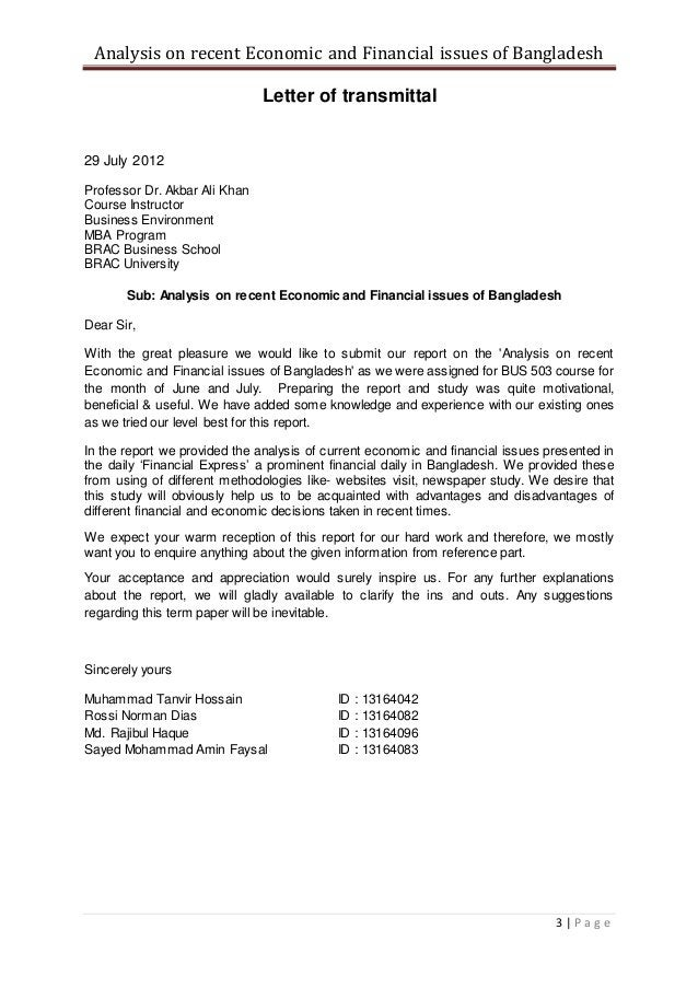 Analysis on recent Economic and Financial issues of Bangladesh 3   P a g e Letter of transmittal 29 July 2012 Professor Dr...