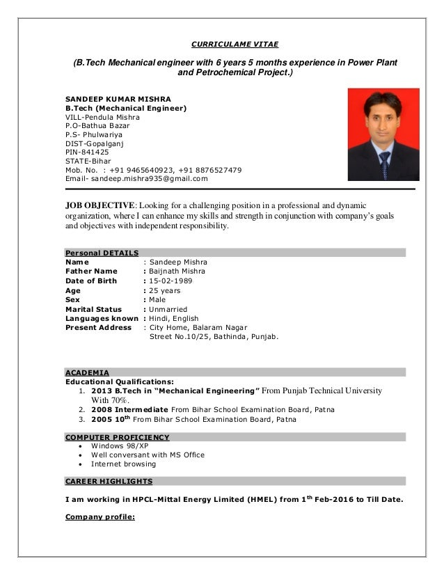 CURRICULAME VITAE BTech Mechanical Engineer With 6 Years 5 Months Experience In Power