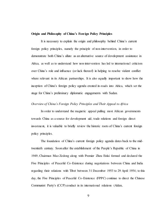 9 Origin and Philosophy of China's Foreign Policy Principles It is necessary to explain the origin and philosophy behind C...