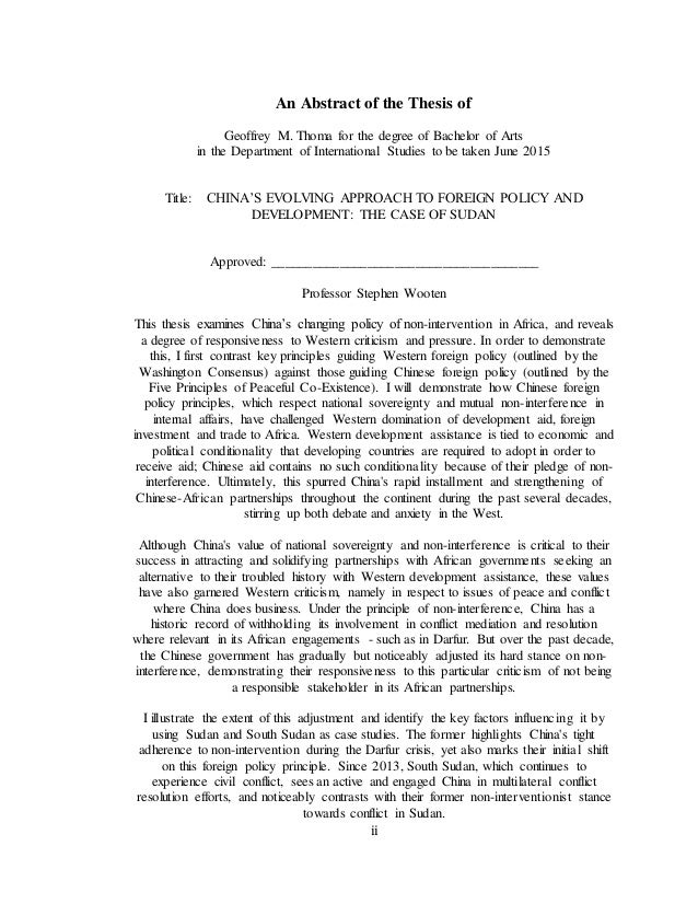 ii An Abstract of the Thesis of Geoffrey M. Thoma for the degree of Bachelor of Arts in the Department of International St...