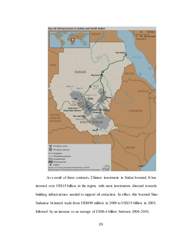 24 As a result of these contracts, Chinese investment in Sudan boomed. It has invested over US$15 billion in the region, w...