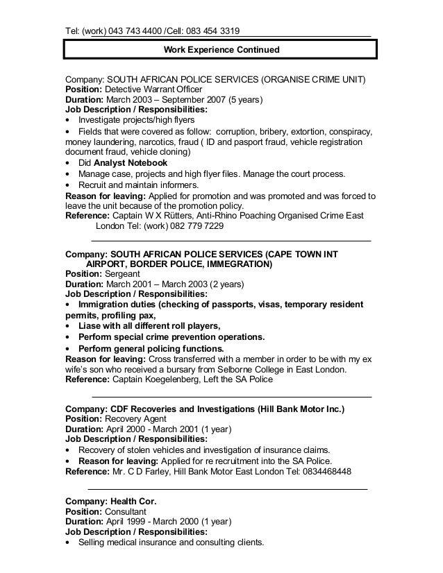 Nuwe cv ljd grobbelaar - Compliance officer job description bank ...