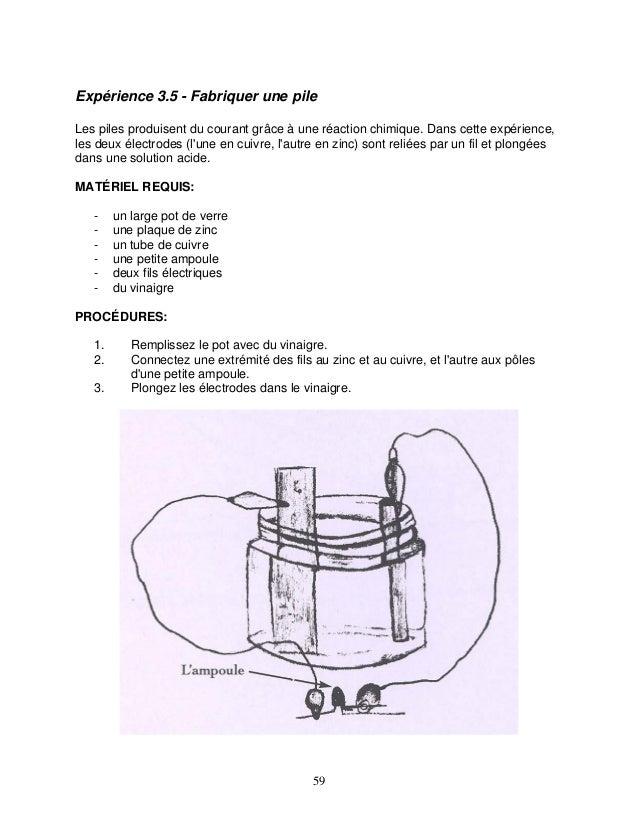 Expérience 3.5 - Fabriquer une pile Les piles produisent du courant grâce à une réaction chimique. Dans cette expérience, ...
