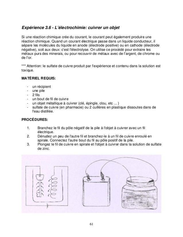 Expérience 3.6 - L'électrochimie: cuivrer un objet Si une réaction chimique crée du courant, le courant peut également pro...