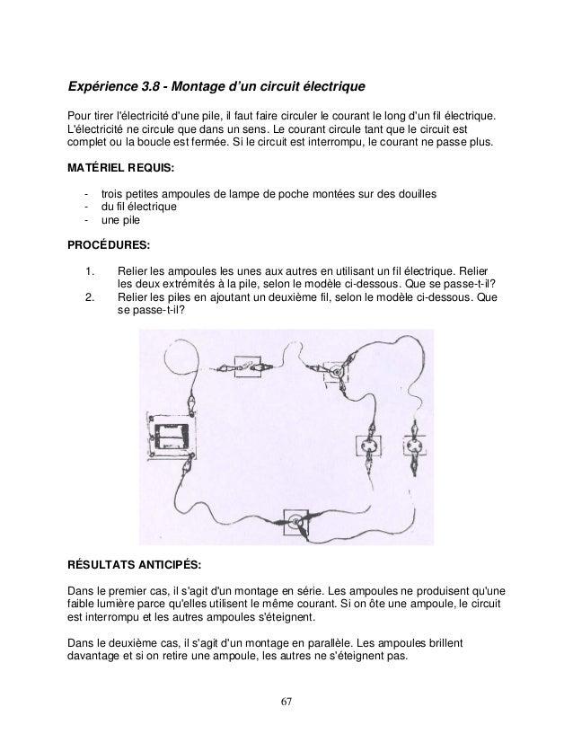 Expérience 3.8 - Montage d'un circuit électrique Pour tirer l'électricité d'une pile, il faut faire circuler le courant le...