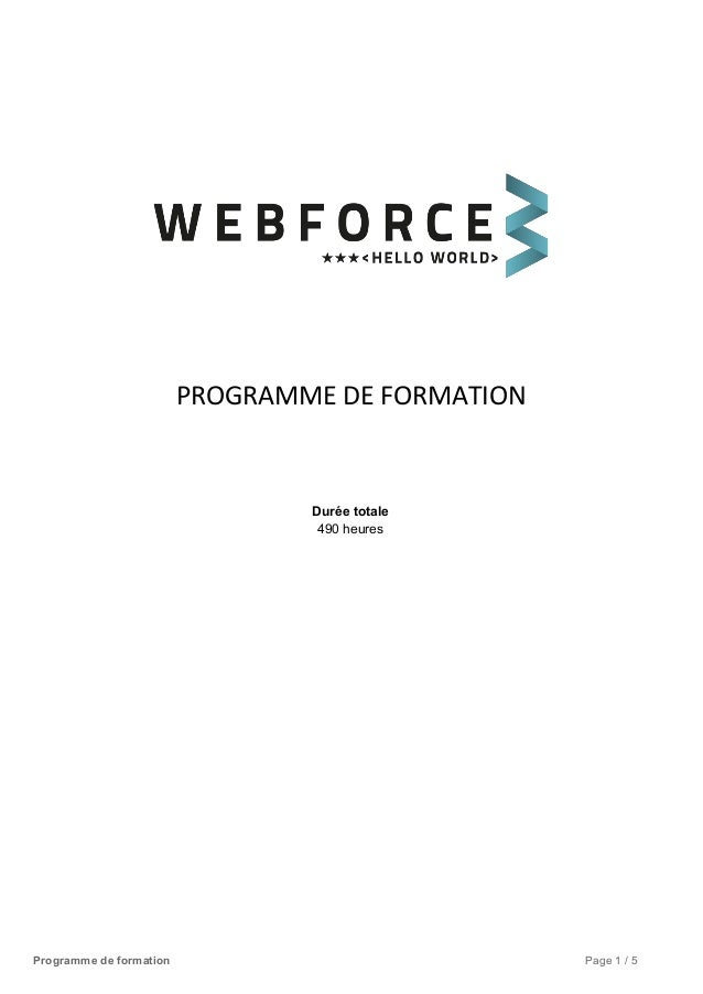 PROGRAMME DE FORMATION     Duréetotale 490heures       Programmedeformation Page1/5