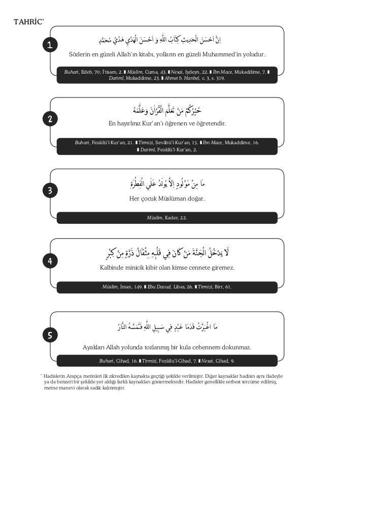 TAHR C*              1                       Sözlerin en güzeli Allah'ın kitabı, yolların en güzeli Muhammed'in yoludur.  ...