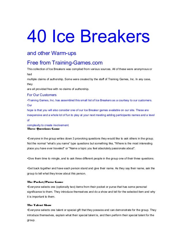 Questions for icebreaker games