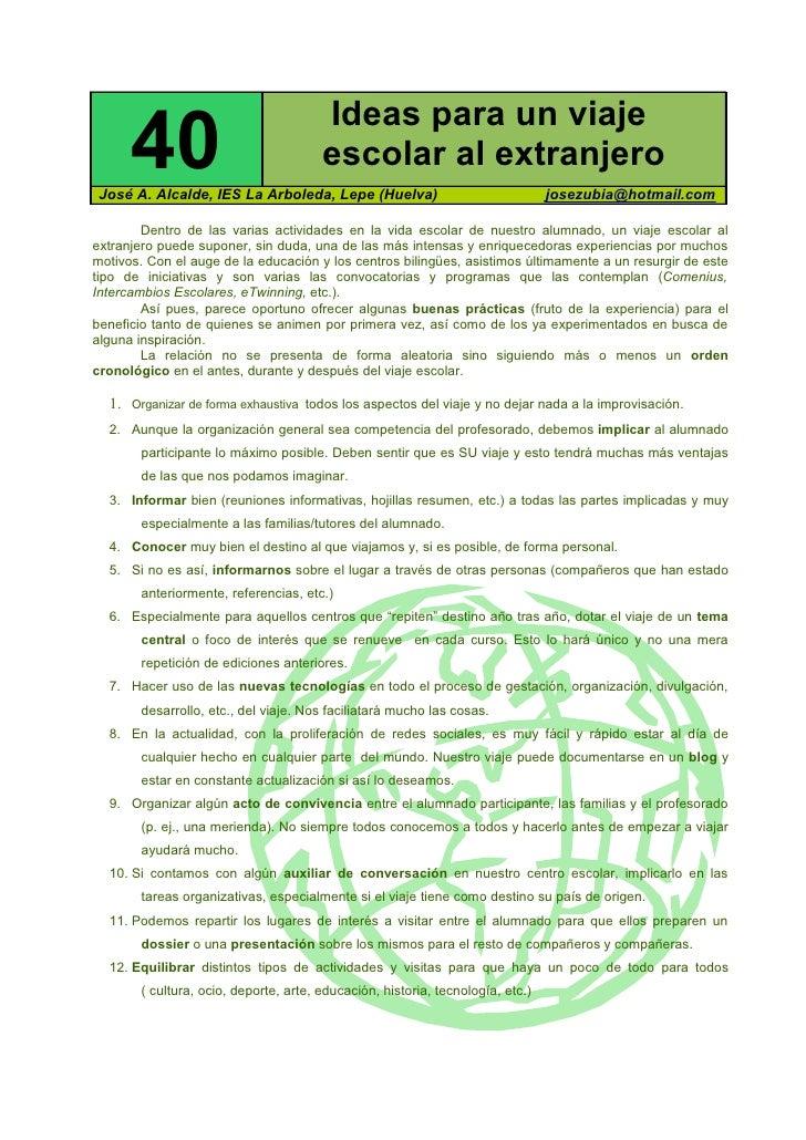 Ideas para un viaje        40                               escolar al extranjero  José A. Alcalde, IES La Arboleda, Lepe ...