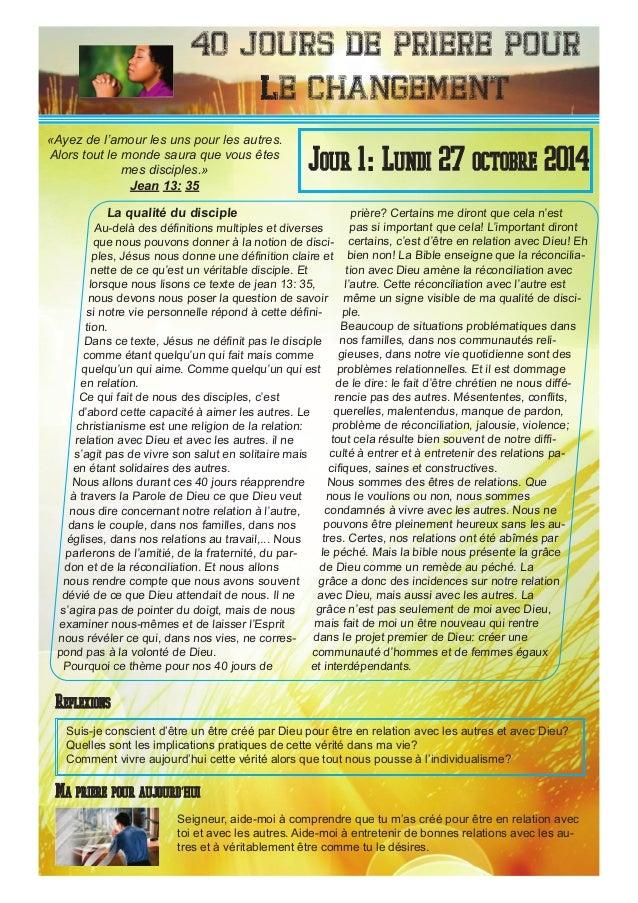 40 Jours de priere pour le changement La qualité du disciple Au-delà des définitions multiples et diverses que nous pouvon...