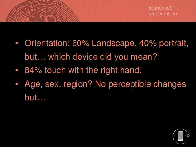 63 • Orientation: 60% Landscape, 40% portrait, but… which device did you mean? • 84% touch with the right hand. • Age, sex...