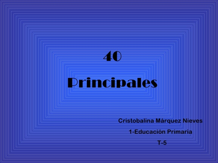 40 Principales Cristobalina Márquez Nieves 1-Educación Primaria T-5