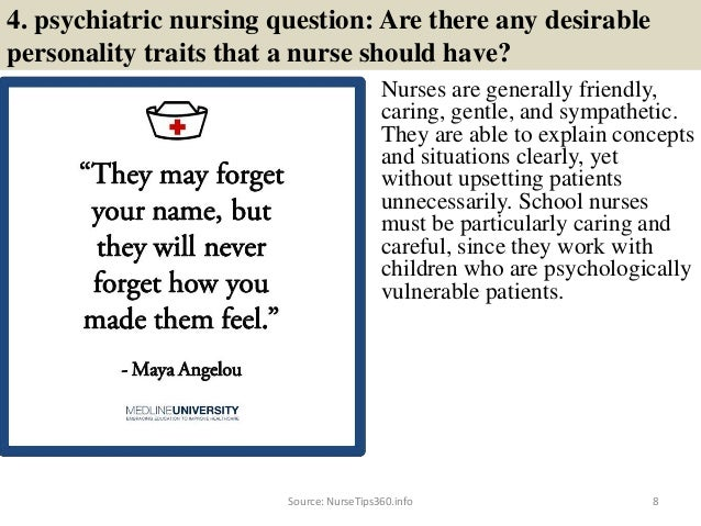 8. 4. Psychiatric Nursing Question: ...
