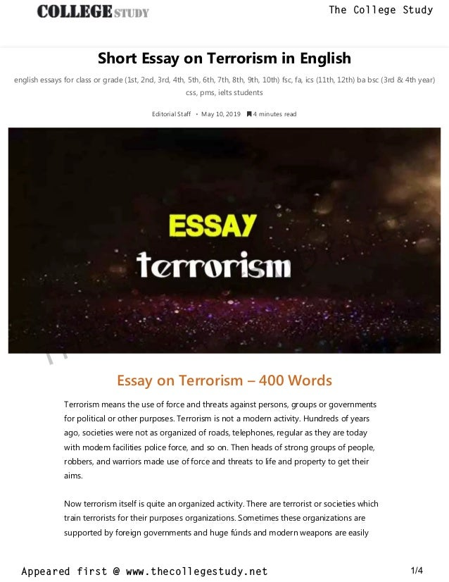 Learning English Essay Writing  Research Proposal Essay Example also High School Scholarship Essay Examples  Short Essay On Terrorism In English The College Study Topics For Essays In English