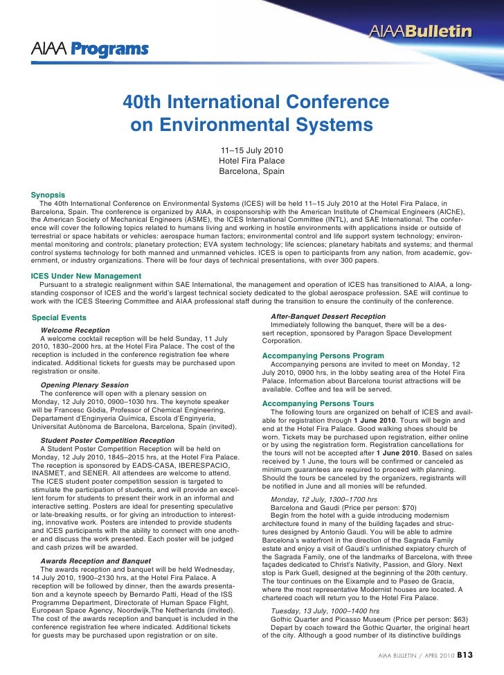 40th International Conference                               on Environmental Systems                                      ...