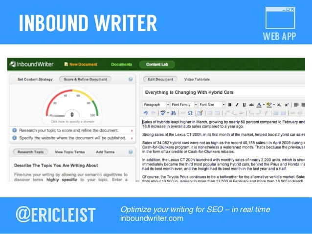 WEB APP INBOUND WRITER Optimize your writing for SEO – in real time! inboundwriter.com!