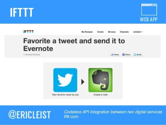 WEB APP IFTTT Codeless API integration between two digital services! ifttt.com!