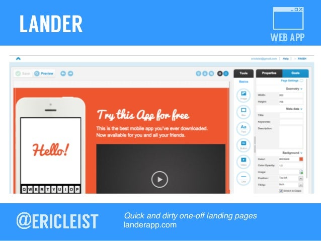 WEB APP LANDER Quick and dirty one-off landing pages! landerapp.com!