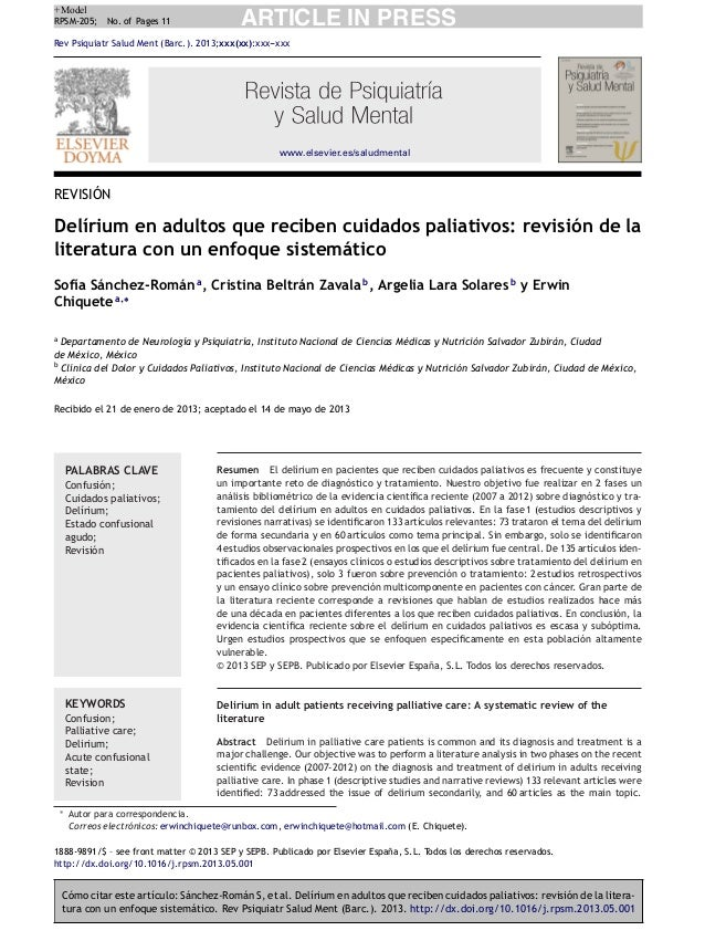 +Model RPSM-205; No. of Pages 11  ARTICLE IN PRESS  Rev Psiquiatr Salud Ment (Barc.). 2013;xxx(xx):xxx--xxx -  www.elsevie...