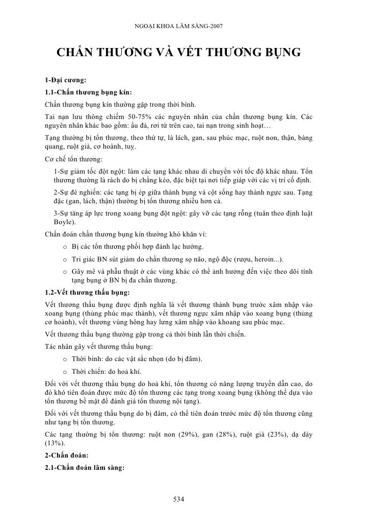NGOẠI KHOA LÂM SÀNG-2007       CHẤN THƯƠNG VÀ VẾT THƯƠNG BỤNG  1-Đại cương: 1.1-Chấn thương bụng kín: Chấn thương bụng kín...
