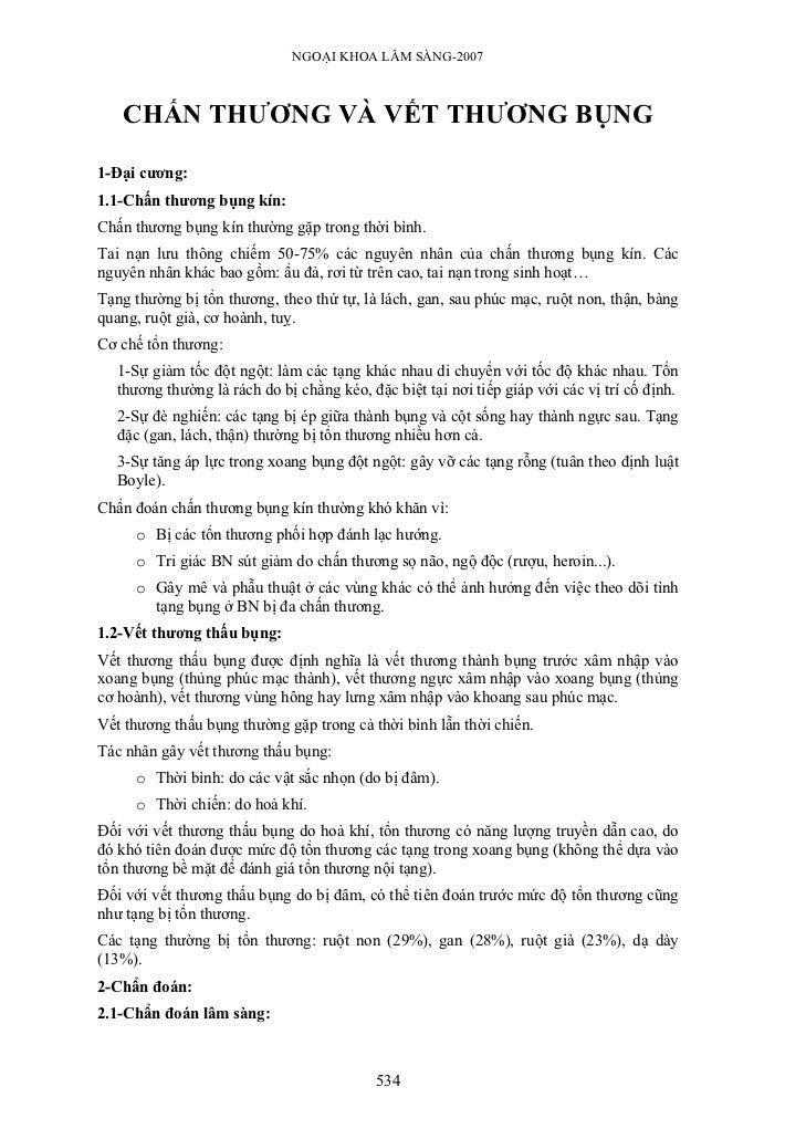 NGOẠI KHOA LÂM SÀNG-2007   CHẤN THƯƠNG VÀ VẾT THƯƠNG BỤNG1-Đại cương:1.1-Chấn thương bụng kín:Chấn thương bụng kín thường ...