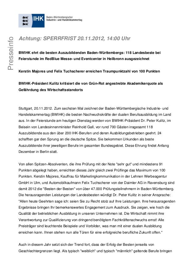 Achtung: SPERRFRIST 20.11.2012, 14:00 UhrPresseinfo             BWIHK ehrt die besten Auszubildenden Baden-Württembergs: 1...
