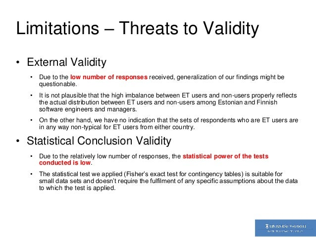 external validitity An essential concept in experimental design, validity directly relates to the soundness of research validity refers to the degree to which a research design measures what it intends to a good study will always attempt to maximize validity, both internal to the study and external, according to the.