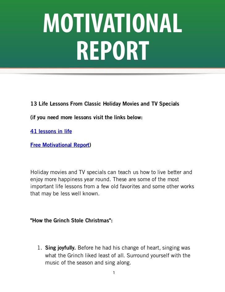MOTIVATIONAL       REPORT13 Life Lessons From Classic Holiday Movies and TV Specials(if you need more lessons visit the li...