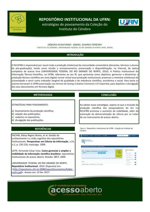 Repositório Institucional da UFRN: estratégias de povoamento da coleção do Instituto do Cérebro - CONFOA 2017
