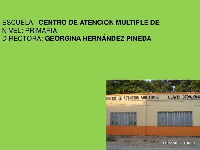 ESCUELA: CENTRO DE ATENCION MULTIPLE DENIVEL: PRIMARIADIRECTORA: GEORGINA HERNÁNDEZ PINEDA