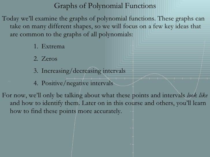 <ul><li>Graphs of Polynomial Functions </li></ul><ul><li>Today we'll examine the graphs of polynomial functions. These gra...