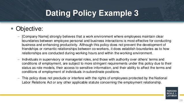 Employee dating policies dating workshops for women