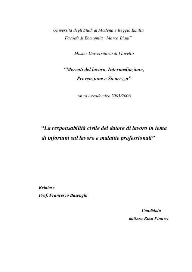 """Università degli Studi di Modena e Reggio Emilia Facoltà di Economia """"Marco Biagi""""  Master Universitario di I Livello  """"Me..."""