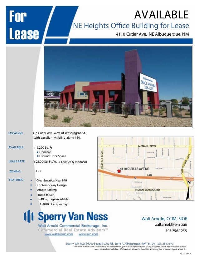(9/15/2010) Sperry Van Ness | 6200 Seagull Lane NE, Suite A, Albuquerque, NM 87109 | 505.256.7573 The information containe...