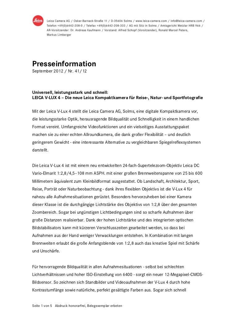 PresseinformationSeptember 2012 / Nr. 41/12Universell, leistungsstark und schnell:LEICA V-LUX 4 – Die neue Leica Kompaktka...