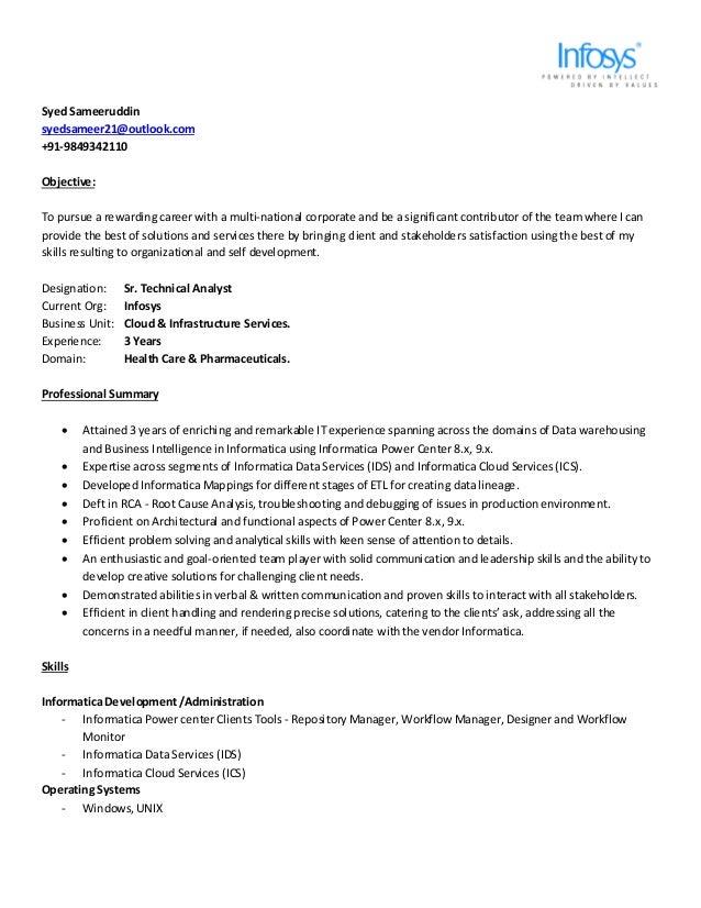 resume syed sameeruddin sr technical analyst infosys exp 3 yr